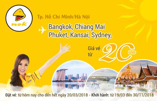 Chào đón tháng 3 tuyệt vời với vé máy bay đi Bangkok chỉ 20 USD